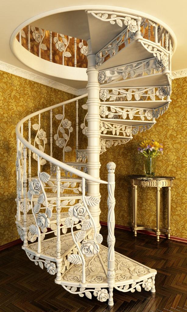 Кованая винтовая лестница с элементами художественной ковки. Кузня