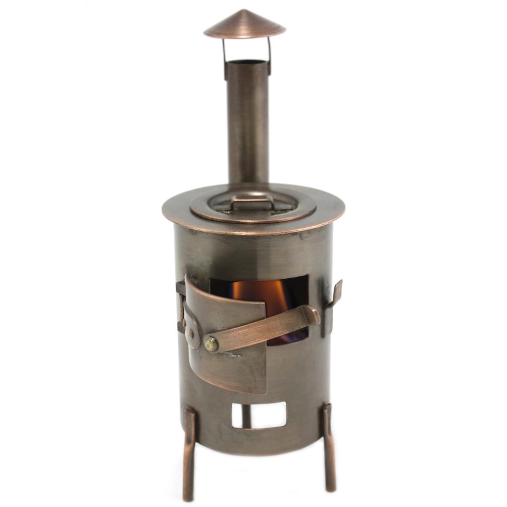 Переносная печь-буржуйка металлическая цилиндрическая