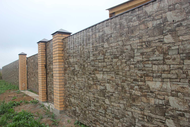 Забор из профнастила с изображением под камень в Херсоне