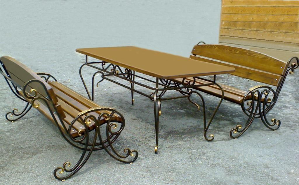 Набор из кованых лавок и стола на заказ в Херсоне