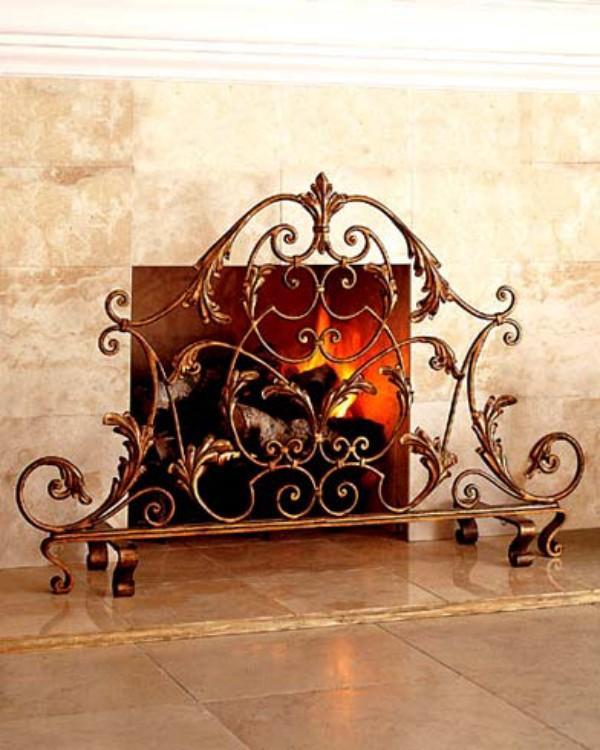 Пример кованой решетки на камин в стиле арт-деко