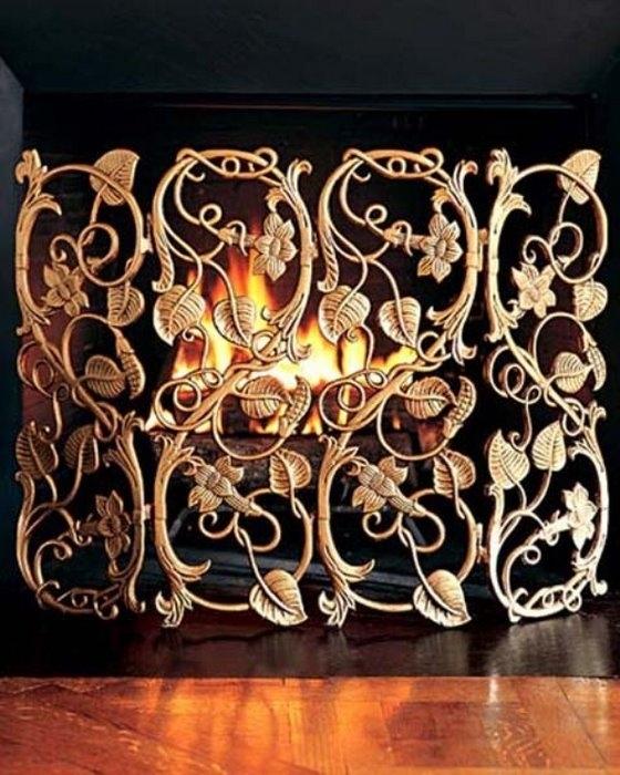 решетка для камина кованая в стиле рококо