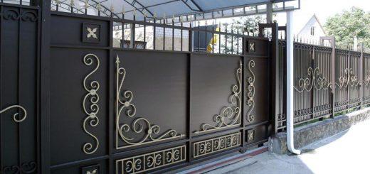 Откатные ворота из метала с элементами ковки в херсоне.Кованые ворота кузня Херсон